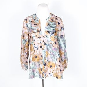 Theory Floral Silk Stretch Pintuck Blouse